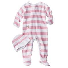 Burts Bees Baby Newborn Girls Organic Stripe Coverall and Hat Set - Blush 0-3 Months QUANTITY - 3