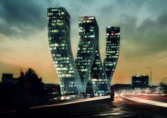 Walter Towers,Prague,CZ - Bjarke Ingels Group Found alphabet W