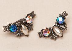 Blue Rhinestone Faux Pearl Pewter Finish Earrings  by Eekmaus, $25.00