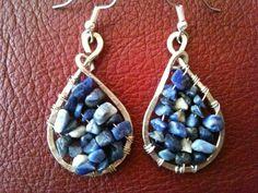 Blue jean lovers stylish teardrop  Sodalite hoop wire wrapped earrings by BLLstudio.