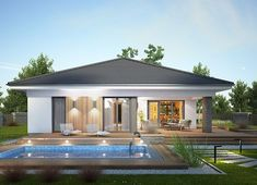 Projekt domu Miriam III 118,10 m² - koszt budowy - EXTRADOM Modern House Floor Plans, Modern Bungalow House, Bungalow House Plans, Contemporary House Plans, Village House Design, Kerala House Design, House Front Design, Minimal House Design, Modern Small House Design