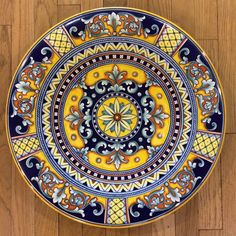 Deruta Geometrico Ornato Large Decorative Platter - Exacting yet seemingly effortless and flowing brushwork like this is only possible after years and years of training to refine techniques that date back to the days of dragons! Handmade and hand painted in Deruta, Umbria, Italy. Found at the Italian Pottery Outlet in Santa Barbara, CA