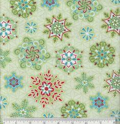 Sparkle - Per Yard - Contempo by Benartex - by Amanda Murphy - Multi Snowflakes on Green  #quilt #supplies #quilting #RebsFabStash #Benartex #CraftSuppliesTools #AmandaMurphy #ByTheYard #Contempo #ChristmasYardage