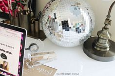 Everyone should work with a disco ball. #office #desk - glitterinc.com