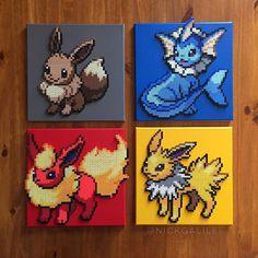 Pokemon set - Perler on canvas by Nick Galilei
