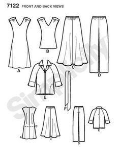 Schnittmuster: Kombination Kleid - Rock - Blazer - Simplicity - burda style 7122