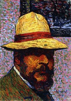 Self-portrait; Selbstportrat. Arthur Segal (1874-1944). Oil on artist's board. Painted in 1909. 50.5 x 36cm.