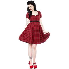 Sourpuss Marcy Gingham Dress - Red