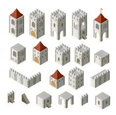 Isometric Map, Medieval Houses, Fantasy Map, White Stock Image, Illustrations, Concept Architecture, Game Design, Design Ideas, Graphic Design Illustration