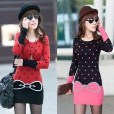 Polka dot sweet sweater preppy cute sexy pullover women's thickening warm basic o-neck outwear korean 2013 fashion free size $25.93