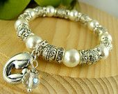 Pearl, Beads Mother and Child Womens stretch Cord Bracelet