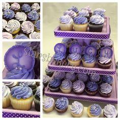 Purple baby shower cupcakes