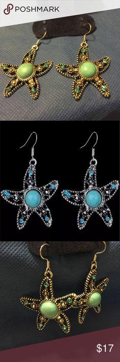 Tibetan Silver Starfish earrings These Tibetan silver drop dangle starfish earrings are even more beautiful in person! Jewelry Earrings