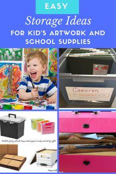 How to Display and Organise your Child's Artwork. Artwork storage solutions. Organise Kid's stuff. Organise school paperwork. Children's Art Galleries.
