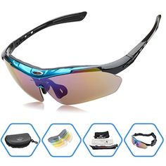 6af82191a3 LuckyZ Windproof Polarized Sports Sunglasses With 5 Interchangeable Lenes  for Men Women Cycling Running Driving Fishing Golf Glasses