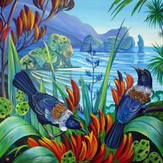 Polynesian Art, New Zealand Art, Nz Art, Maori Art, Bird Artwork, Kiwiana, Nerd Love, Plant Illustration, British Isles