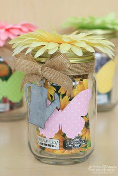 SRM Stickers: Spring Gardening Mason Jars by Juliana Michaels featuring SRM Stickers Patterned Adhesive Vinyl Diy And Crafts, Paper Crafts, Patterned Vinyl, Light Crafts, Packaging Ideas, Adhesive Vinyl, Tea Lights, Mason Jars, Craft Ideas