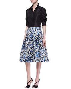 -5164 Carolina Herrera Classic Silk Taffeta Blouse & Flared Feather Floral Skirt