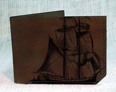 Geldbörse  LederPortemonnaie  Pirat Schiff von backerton auf Etsy, $38.00