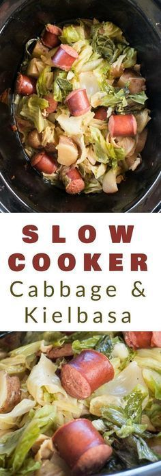 EASY SLOW COOKER Cabbage and Kielbasa recipe! Throw Beef Kielbasa, Cabbage, Onions and Potatoes in a crockpot and dinner will be ready in 6 hours! I serve this healthy dish over egg noodles with rolls - my family LOVES this comfort food meal!