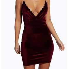 NWT Size 10  maroon velvet scalloped dress! NWT- from boohoo. Never worn before. Listed as AA for exposure. American Apparel Dresses Mini