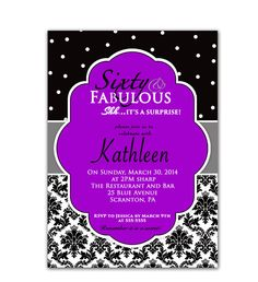 Sixty and Fabulous 60th Birthday Invitation Purple Black and Gray Elegant Damask and Polka Dots Printable Surprise Party Invite JPEG file89b by PurpleChicklet on Etsy
