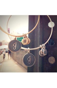Alex and Ani scripted initial bracelet