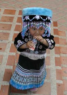 Hmong Hill tribe Girl in Traditional Costume