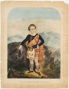 <p>Young man at center facing to right of viewer in Scottish dress -orange plaid shawl.</p>