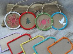 Crochet-edged Gift Tags Rectangle or Round Holiday by ZcrochetZ