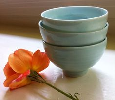 set of three translucent porcelain rice bowls by MeadowDesign, $60.00