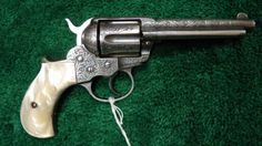FACTORY ENGRAVED COLT 41 CALIBER THUNDERER REVOLVER.  Serial range is 39k. Factory letter indicates that the gun was orig nickel and shipped to Hartley and Graham October 24,1882.