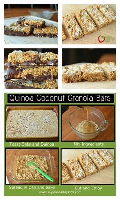 Quinoa Coconut Granola Bar Recipe - Our kids already love granola bars, but once you add quinoa, your kids also get fiber and protein! http://www.superhealthykids.com/quinoa-coconut-granola-bars/