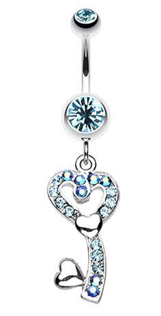 14 GA Crystal Star Prism Dangle Belly Button Ring Davana Enterprises