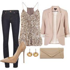 evening outfit - jeans, sequins, pumps