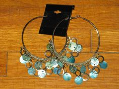 Silver Tone Giant Hoop Earrings Teal / Silver Detail