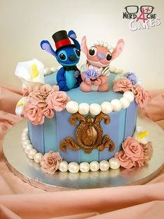 This Stitch and Angel cake by Nerdache Cakes is perfect for couples who are slight monsters together, but in the cutest and most loving way possible.