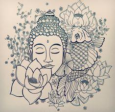 Tattoo Design (Buddha,Koi and Lotus Blossom) on Behance Buddha Tattoo Design, Lotus Tattoo Design, Sketch Tattoo Design, Tattoo Designs, Buddhist Symbol Tattoos, Hindu Tattoos, Body Art Tattoos, Buddah Sleeve Tattoo, Hamsa Tattoo