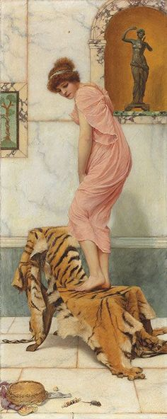 John William Godward (1861-1922), A mouse in the work basket, 1893. Oil on canvas. 25.1/4 x 10 in. (64 x 25.4 cm) Godward, following in the footsteps of Alma-Tadema, also liked to tease his audience by suggesting that life in Ancient Rome was not so dissimilar to their own. Here, a mouse has been disturbed in the work basket.