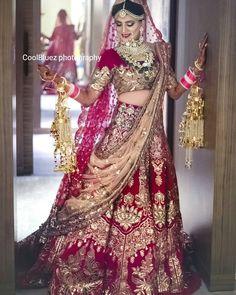 Amazing Heavy Bridal Red Lehenga Choli in Velvet and Net Dupatta