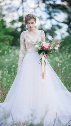 Beautiful two tone wedding gown. So gorgeous and unique!