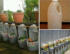 There is a two plastic bottle cut from the top after that color them with blue and red two stickers paste on front and beautiful diy plastic bottle planter is Plastic Bottle Planter, Plastic Jugs, Plastic Bottle Crafts, Recycle Plastic Bottles, Plastic Containers, Bottle Garden, Diy Bottle, Hanging Herbs, Hanging Planters