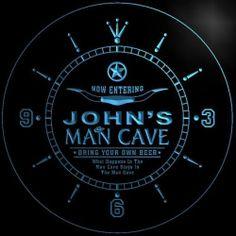 NCPB0002 B John's Man Cave Cowboys Beer Bar 3D LED Neon Sign Clock | eBay