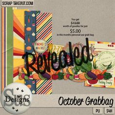 Octobers grab bag #SusDesigns #DigiScrap #ScrapTakeOut #Scrapbook