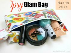 Ipsy Glam Bag March 2014. Pay $10 a month and get a bag of full size makeup and samples. Looks like fun. I signed up but there is a waiting list.