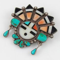 Old Pawn Zuni HUSTITO Sterling Silver Mosaic Sunface Inlay Pin | G LE
