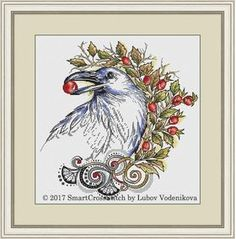 #crow #crossstitch #crowcrossstitch #birdembrodiery #crossstitchpattern  If you want to try a stylish original cross stitch pattern, have a look at a new embroidery design ''Crow's feast''. Ripe berries forming a wreath and a portrait of an intelligent crow.