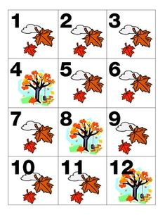 These fall/November calendar pieces have a leaf and tree making an AAAB pattern....