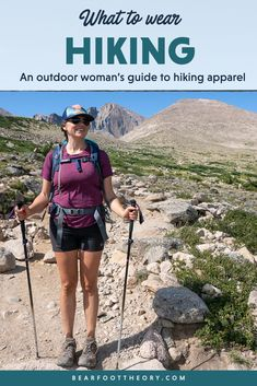 Not sure what to wear hiking? Learn how to dress for both function & comfort on the trail in a variety of conditions with this women's hiking apparel guide. Hiking Dress, Cute Hiking Outfit, Hiking Wear, Summer Hiking Outfit, Hiking Outfits, Hiking Clothes, Hiking Gear Women, Hiking Tips, Best Hiking Socks