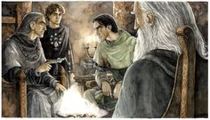 """Lord Denethor sits in audience with his remaining son, Faramir and the wizard Galdalf, while Denethor's new servant Merry looks on.  """"And the Lord Denethor is unlike other men: he sees far. Some say that as he sits alone in his high chamber in the Tower at night, and bends his thought this way and that, he can read somewhat of the future; and that he will at times search even the mind of the Enemy, wrestling with him."""""""